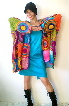 Plus Size Women's Cardigan Sweater with Crochet Circles. €270.00, via Etsy.