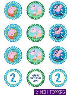 George Pig y Peppa Pig Cupcake Toppers / Favor por instantparty                                                                                                                                                                                 Más