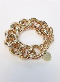 1AR Hammered Chain Gold Bracelet