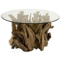 Uttermost Driftwood Glass Coffee Table (9.670.690 IDR) ❤ liked on Polyvore featuring home, furniture, tables, accent tables, espresso, unfinished coffee table, glass accent table, driftwood table, driftwood furniture and unfinished table