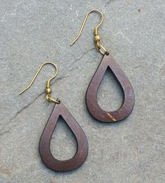 Open Tear Drop Coconut Shell Earrings by Soothi on Scoutmob Shoppe