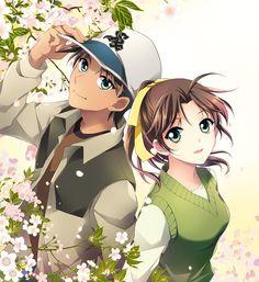 Detective Conan Hattori Heiji & Tōyama Kazuha Sakura Flowers