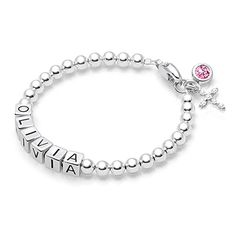 4mm Tiny Blessings Beads, Baby/Children's Name Bracelet - Sterling Silver