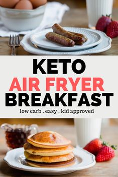 Bunch of keto breakfast recipes you can cook in an airfryer. - Keto Breakfast Recipes On the Go - For Life Food Keto Friendly Desserts, Low Carb Desserts, Low Carb Recipes, Keto Diet Breakfast, Breakfast Recipes, Breakfast Ideas, Best Keto Bread, Low Carb Pancakes, Low Carb Ice Cream