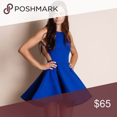 """Cobalt Blue Backless Flare Dress Backless flare dress in cobalt blue. Junior sizing. This is an ACTUAL PIC of the item - all photography done personally by me. Model is 5'9"""", 32""""-24""""-36"""". NO TRADES DO NOT BOTHER ASKING. PRICE FIRM. Bare Anthology Dresses Mini"""