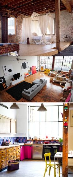 new york loft ....bliss Definitely want to live in a place like this when I move to Chicago!