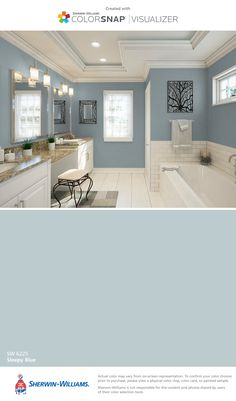 I found this color with ColorSnap® Visualizer for iPhone by Sherwin-Williams: Sleepy Blue (SW 6225).
