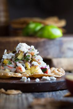 Juicy peach and shrimp ceviche with roasted hatch chile peppers. Served as a tostada on a fried grain free tortilla! Shrimp Ceviche, Ceviche Recipe, Shrimp Tostadas, Healthy Dishes, Food Dishes, Healthy Meals, Main Dishes, Healthy Eating, Seafood Recipes