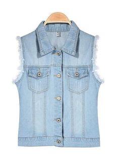 Casual Water Wash Denim Vest Women Outerwear Jeans Vest