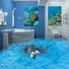 3D flooring for bathrooms. I love this one!