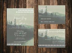 Tribal Geometric Forest Wedding Invitation // door blacklabstudio