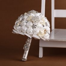 Hotsale Handmade Top Quality Frisada Broche Buquê de Casamento Da Noiva Da Dama de honra de Seda Artificial Flor Personalizável Para Sempre preservar(China (Mainland))
