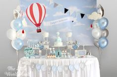 Blue and White Hot Air Balloon Birthday Party   Kara's Party Ideas