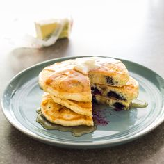 Tired of tough, tasteless, blue-gray pancakes? For fluffy, flavorful blueberry pancakes, use frozen wild blueberries and a light hand when mixing.