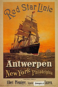 Vintage Red Star Line Antwerp New York Cruise Travel Poster