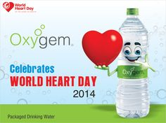 Oxygem Celebrates World Heart Day 2014.  #Heart #WorldHeartDay  Oxygem provides fresh & pure Packaged Drinking Water.