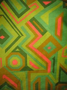 1960's or 70's Abstract Retro, Funkadelic Valore like Fabric, Oranges, Avacado Greens, Dark Green, Tans, Pillows, Curtains and more