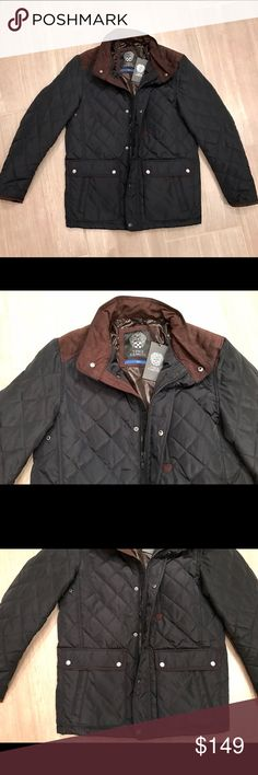 BRAND NEW Vince Camuto Men's Quilted Jacket BRAND NEW Vince Camuto Men's Quilted Jacket in dark blue with brown trim. Zipper and button closure. Buttoned pockets. Beautiful detail and design. Men's size small. Some measurements include: 21.5 inches armpit to armpit, 18 inches shoulder to shoulder, 18.5 inches from the armpit to the bottom of the jacket, and 16.5 inches from the armpit to the end of the sleeve. Vince Camuto Jackets & Coats