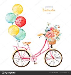 Find Beautiful Floral Collection Bike Bouquet Basket stock images in HD and millions of other royalty-free stock photos, illustrations and vectors in the Shutterstock collection. Ballon Illustration, Bicycle Illustration, Happy Birthday Wishes Cards, Card Birthday, Birthday Template, Bike Wedding, Birthday Wallpaper, Banner Printing, Baby Cards