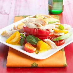 Start with a purchased roasted chicken for a meal that's ready in minutes. In this main-dish salad, chunks of chicken are combined with fresh tomato and avocado for an all-in-one meal.
