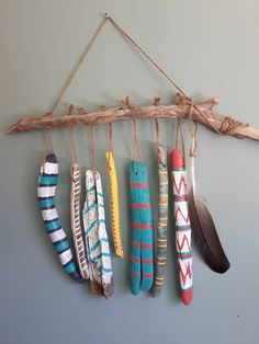 Choose whether to hang indoor or out, this unique piece will bring whimsy, fun, and the casual feeling of a beach house no matter where the location. Made from Nova Scotia driftwood collected from beaches along the South Shore there. Painted Driftwood, Driftwood Crafts, Driftwood Fish, Driftwood Mobile, Painted Wood, Driftwood Ideas, Wood Wood, Diy And Crafts, Arts And Crafts