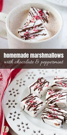 Homemade Marshmallows With Chocolate And Peppermint Are Easy, Homemade Peppermint Marshmallows Drizzled With Chocolate And Topped With Peppermint Crunch Via Flavorthemoment Recipes With Marshmallows, Homemade Marshmallows, Chocolate Marshmallows, Chocolate Bomb, Homemade Candies, Homemade Chocolate, Chocolate Tarts, New Year's Desserts, Köstliche Desserts