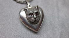 Vintage Sterling Silver Cat Charm Locket Pendant, $125.00