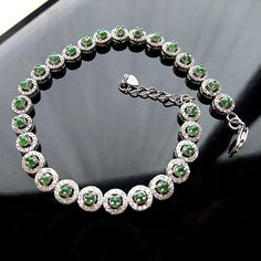.925 Sterling Silver Jade Inlaid Zircon Gemstone Silver Bracelet for Women's Fashion-Length 17cm