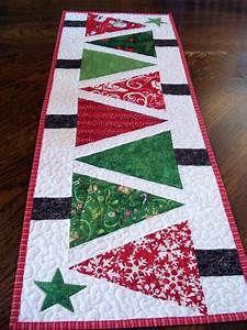 Quilted Table Runner Modern Christmas Trees narrow runner red