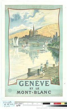 Auteur(s) : Viollier, Edmond (1865-1939). Illustrateur  Titre(s) : Genève et le Mont-Blanc [Image fixe] : [affiche] / Edmond Viollier Publication : [S.l.] : [s.n.], [ca 1900] Imprimeur / Fabricant : Affiches Atar (Genève). Imprimeur  Description matérielle : 1 est. : lithographie, coul. ; 100 x 63 cm -->> http://catalogue.bnf.fr/ark:/12148/cb402826896