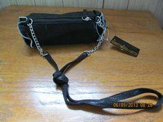 Nwt SASHA brand black/silver ruffled tootsie roll style shoulder purse cute!