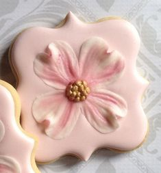 Elegant Fancy Square Pink Dogwood Flower Cookies- One Dozen Decorated Sugar Cookies perfect for Wedding favors