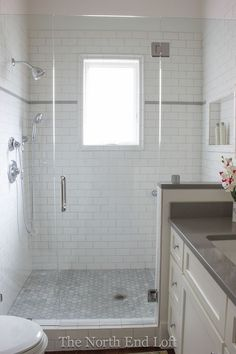 i love everything about this bathroom, yes, it is possible to have a large shower in a small bathroom!