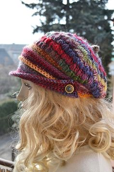 Multicolor Crocheted  PEAKED CAP beanie Slouchy by DosiakStyle