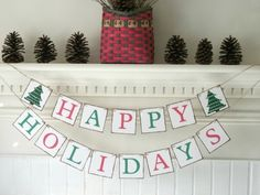 Happy Holidays Christmas Banner Hand Painted Trees Vintage style Merry Christmas Ready to ship - pinned by pin4etsy.com