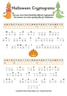 One of three printable Halloween cryptogram puzzles for kids. Solve the fiendishly difficult cryptogram to enjoy some Halloween jokes! Halloween Puzzles, Halloween Worksheets, Halloween Jokes, Halloween Activities, Holiday Activities, Halloween Themes, Halloween Party, Halloween Printable, Halloween Crafts