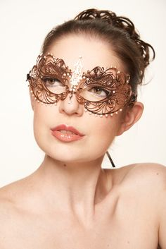 #christmasparty Rose Gold Masquerade Mask Collection - Elegant Metal Filigree Laser Cut Masquerade Mask by ElegantxBoutique on Etsy https://www.etsy.com/listing/174633042/rose-gold-masquerade-mask-collection