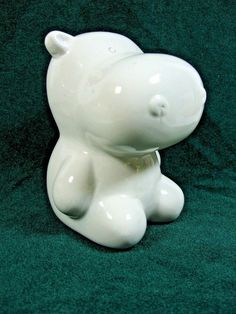 """Collectible White Small Ceramic HIPPO Coin Bank  - 4"""" Tall x 3 1/4"""" Wide"""