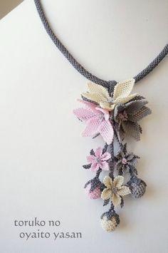 画像1: シルクイーネオヤ ネックレス Textile Jewelry, Bead Jewellery, Beaded Jewelry, Jewelery, Handmade Jewelry, Beaded Necklace, Crochet Bookmark Pattern, Crochet Flower Patterns, Crochet Flowers