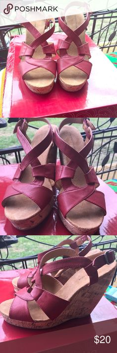 Red wedge cork heels These are so cute. My feet have grown and no longer fit. Charming Charlie Gwen-Red size 9, But I think would fit an 8-1/2. To 9. Charming Charlie Shoes Wedges
