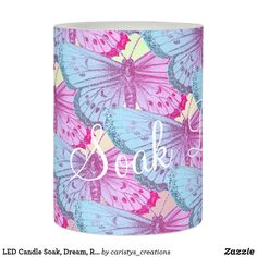 LED Candle Soak, Dream, Relax Flameless Candles, Led Candles, Bathroom Candles, Romantic Candles, Butterfly Decorations, Custom Candles, Relaxing Bath, Vinyl Fabric, Bath Decor