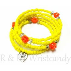 R and R's Wrist Candy Look Book: Yellow Roses Beaded Coil Bracelet by RandRsWristCa...