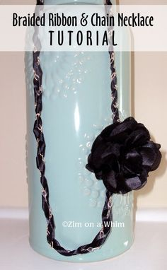 DIY Jewelry - Braided Ribbon  Chain Necklace with Fabric Flower