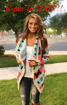 Repin To WIN!! This bestselling cardigan comes back in stock 8/3/15 and we want to give one away! Just REPIN and COMMENT on this photo to be entered. Must be following our Pinterest page to win. Winner will be picked 8/7/15.