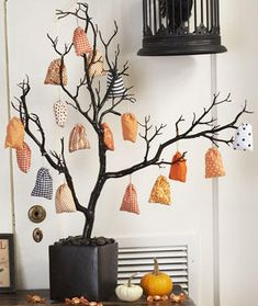 Treat Tree: awesome idea for trick-or-treaters on our street; there's all of 6...