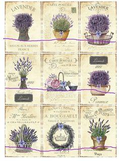 9 Lavendel Tags Scrapbooking  Provence französisch von Nostalgie Gretel häkelt und schenkt auf DaWanda.com