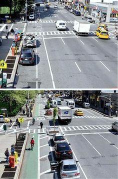 Bike lane moved to outside of parking area, New York City. Visit the slowottawa.ca boards >> http://www.pinterest.com/slowottawa