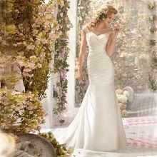 Romântico Elegante Baratos Lace Sereia Vestidos de Casamento 2017 Sheer Lantejoulas Apliques Vestidos de novia de renda Com Botões de Pregas alishoppbrasil