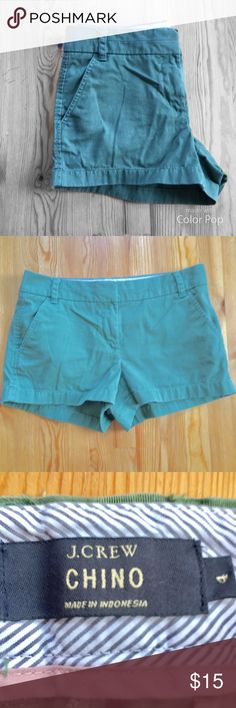 """J. Crew Chino Shorts in Army Green t'Is always warm and sunny somewhere, so everyone's favorite classic chino short is back in a slew of bright colors. City fit: lowest rise.Sits just above hip. 3"""" inseam.Zip fly.Machine wash. 100% Cotton J. Crew Shorts"""