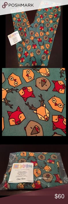 LULAROE OS Woodland Creatures UNICORN HTF one size So cute.  Green background with Woodland animals!  Brand new, Taken out for pics and to inspect for defects.  SF/PF home.  Owls, bears, fox, deer, camping.  Check out my closet to bundle & save.  Less on Ⓜ️erc LuLaRoe Pants Leggings